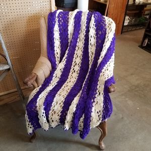 Hand Crafted Crocheted Purple and White Afghan